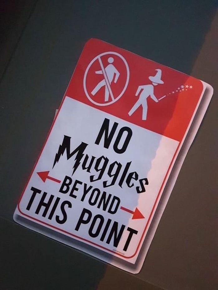 No Muggles party signage from a Hogwarts Harry Potter Birthday Party on Kara's Party Ideas | KarasPartyIdeas.com (32)