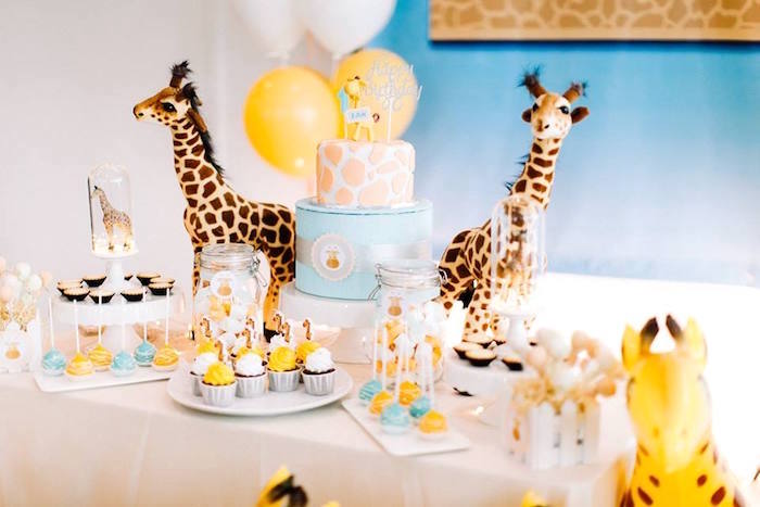 Giraffe dessert table from a Little Giraffe Birthday Party on Kara's Party Ideas | KarasPartyIdeas.com (12)