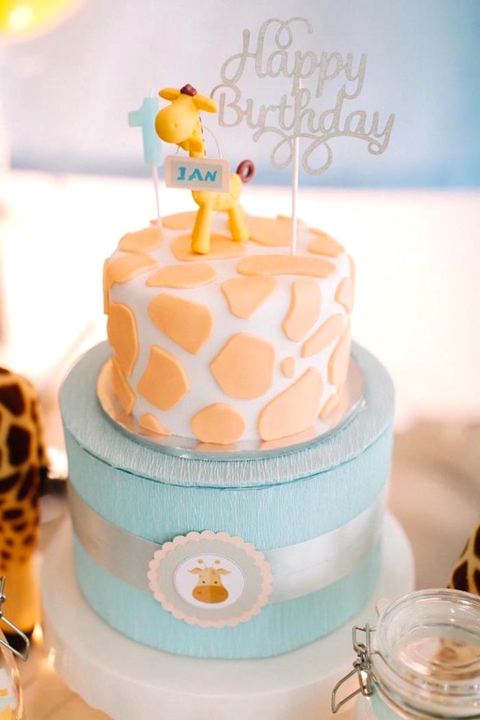 Giraffe Cake from a Little Giraffe Birthday Party on Kara's Party Ideas | KarasPartyIdeas.com (10)