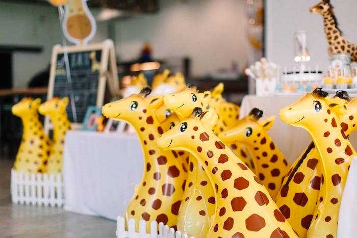 Inflatable giraffes from a Little Giraffe Birthday Party on Kara's Party Ideas | KarasPartyIdeas.com (8)