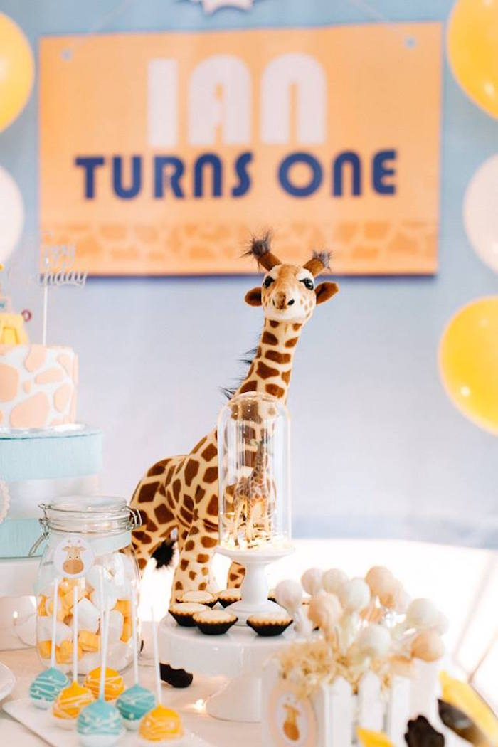 Dessert table detail from a Little Giraffe Birthday Party on Kara's Party Ideas | KarasPartyIdeas.com (19)