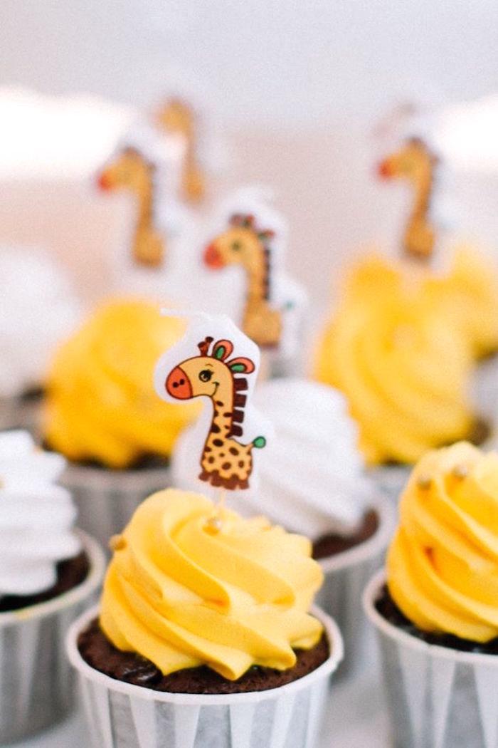 Giraffe cupcake from a Little Giraffe Birthday Party on Kara's Party Ideas | KarasPartyIdeas.com (18)