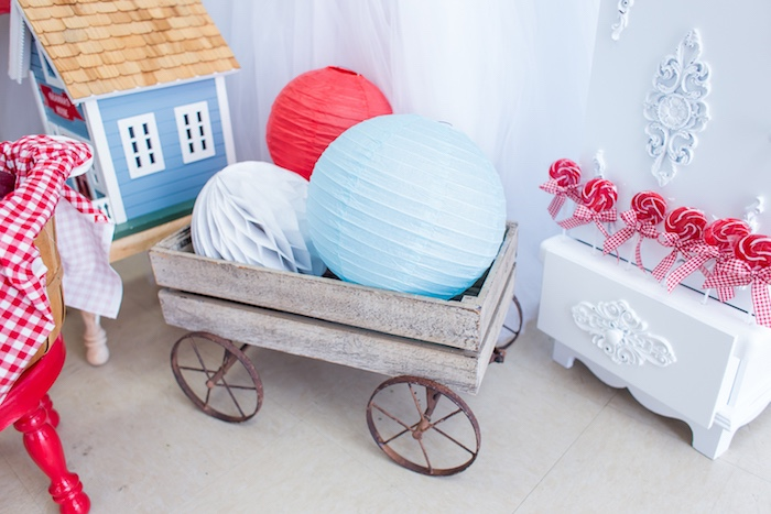 Wood wagon of paper lanterns from a Little Red Riding Hood Birthday Party on Kara's Party Ideas | KarasPartyIdeas.com (31)