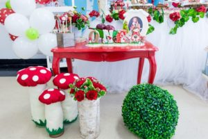 Red table & toadstools from a Little Red Riding Hood Birthday Party on Kara's Party Ideas | KarasPartyIdeas.com (22)