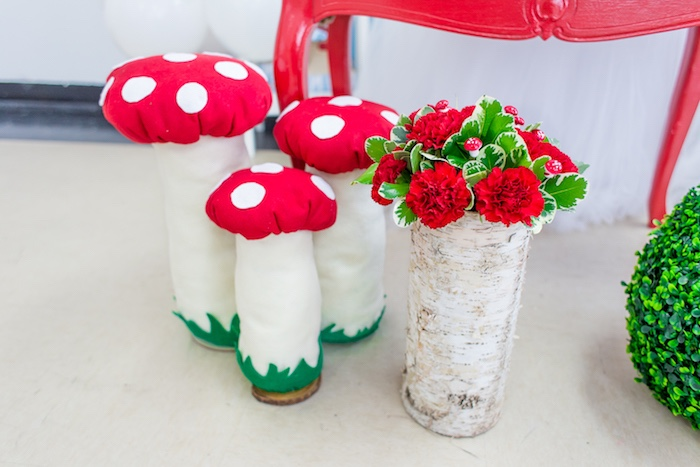 Toadstool decorations from a Little Red Riding Hood Birthday Party on Kara's Party Ideas | KarasPartyIdeas.com (21)