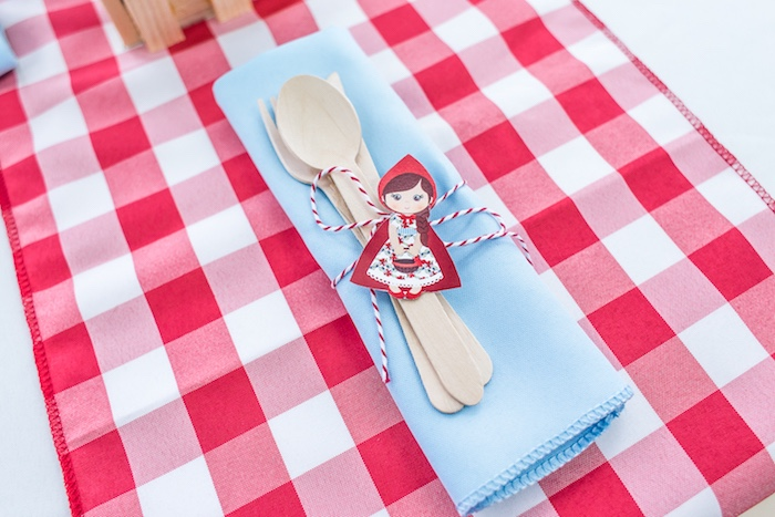 Little Red Riding Hood utensil pack from a Little Red Riding Hood Birthday Party on Kara's Party Ideas | KarasPartyIdeas.com (14)