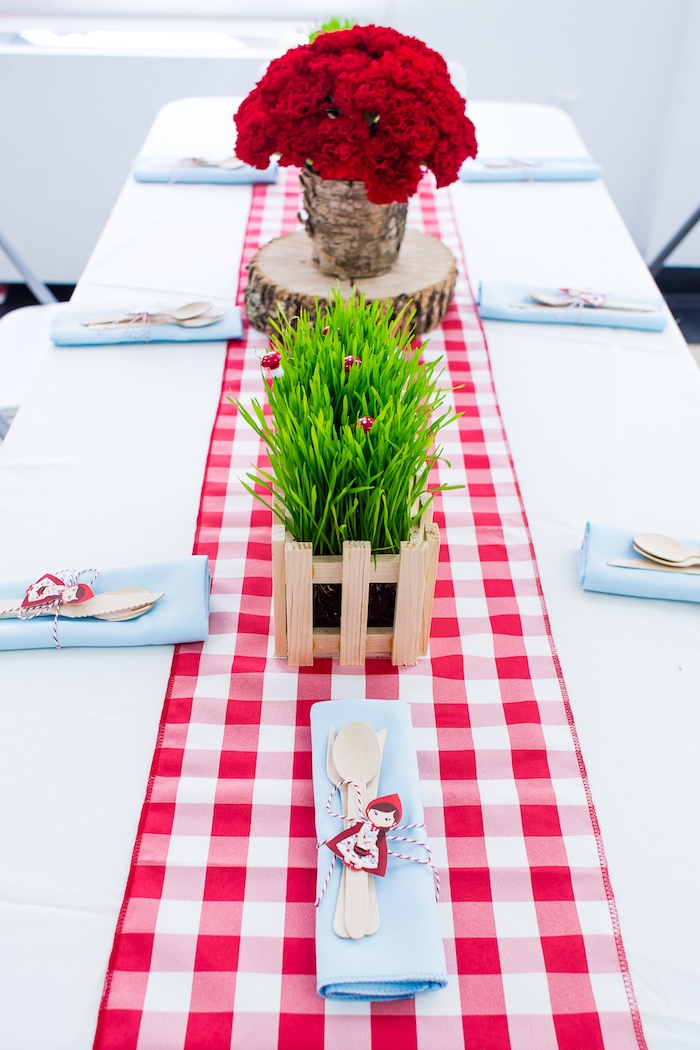 Guest tablescape from a Little Red Riding Hood Birthday Party on Kara's Party Ideas | KarasPartyIdeas.com (13)