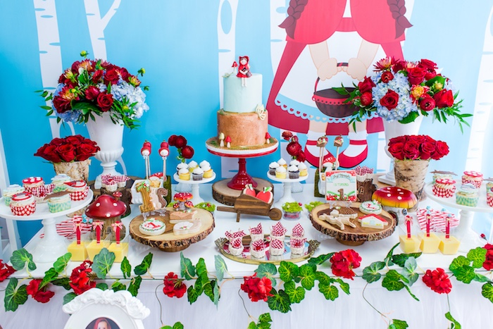 Dessert table from a Little Red Riding Hood Birthday Party on Kara's Party Ideas | KarasPartyIdeas.com (9)