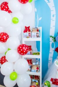 Balloon garland + favor boxes from a Little Red Riding Hood Birthday Party on Kara's Party Ideas | KarasPartyIdeas.com (8)