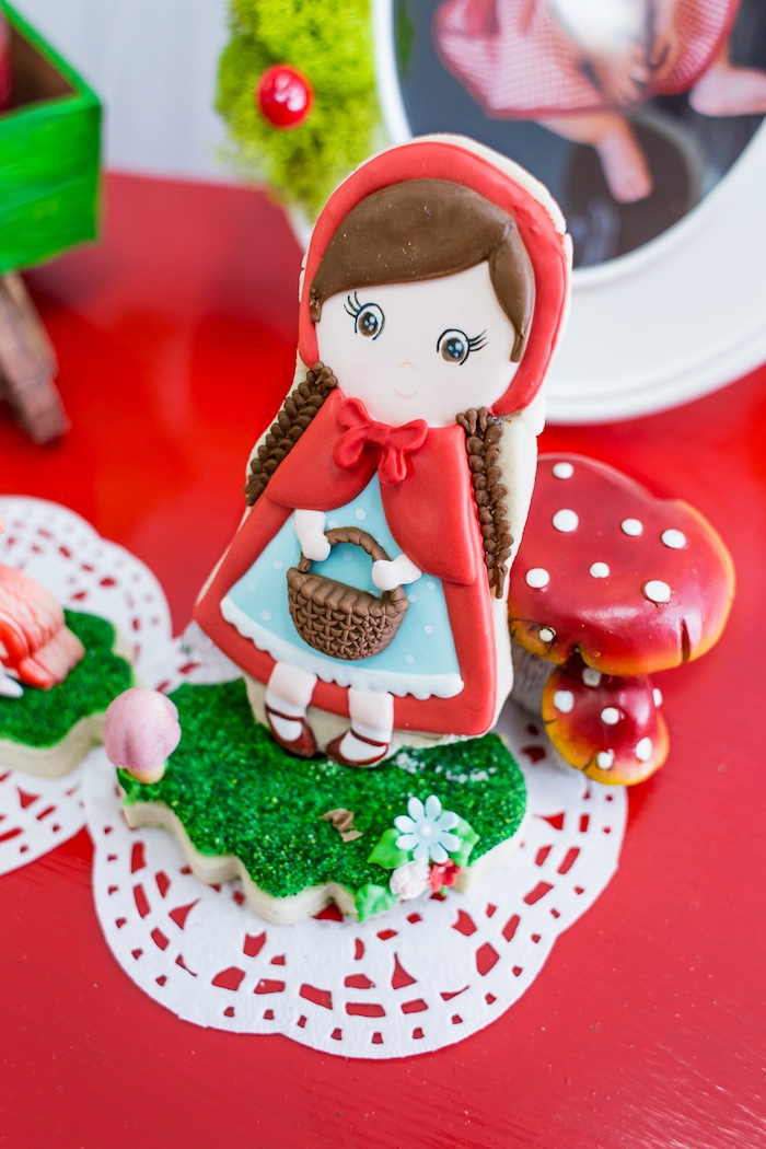 Little Red Riding Hood Cookie from a Little Red Riding Hood Birthday Party on Kara's Party Ideas | KarasPartyIdeas.com (6)