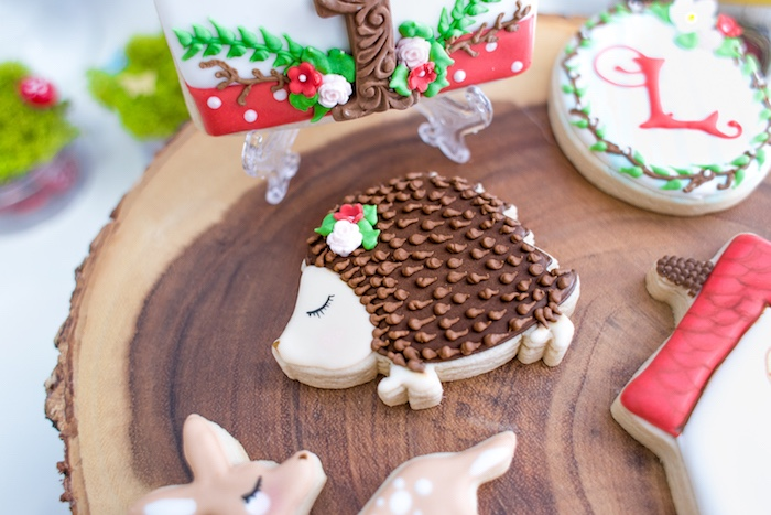 Hedgehog cookie from a Little Red Riding Hood Birthday Party on Kara's Party Ideas | KarasPartyIdeas.com (47)