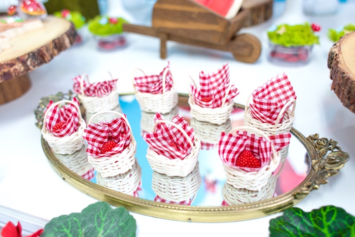 Mini picnic basket favors from a Little Red Riding Hood Birthday Party on Kara's Party Ideas | KarasPartyIdeas.com (44)