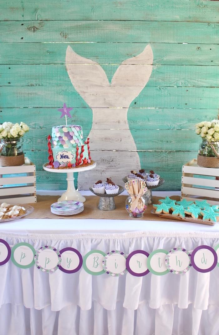 Cake table from a Magical Mermaid Birthday Party on Kara's Party Ideas | KarasPartyIdeas.com (5)