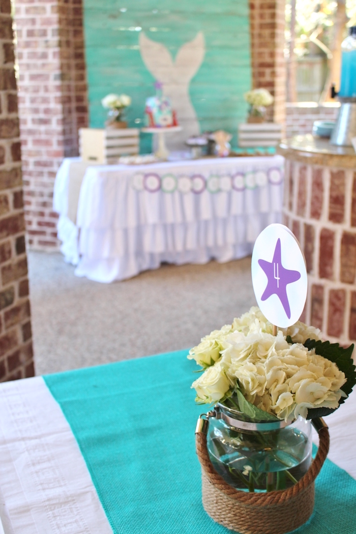 Bloom bucket centerpiece from a Magical Mermaid Birthday Party on Kara's Party Ideas | KarasPartyIdeas.com (2)