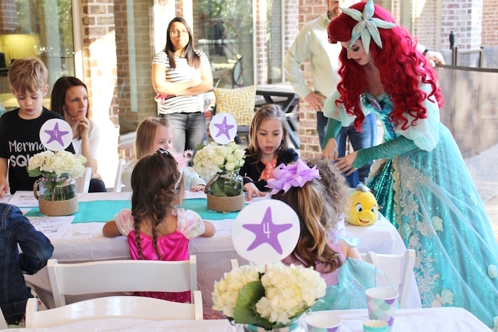 Guest tables from a Magical Mermaid Birthday Party on Kara's Party Ideas | KarasPartyIdeas.com (15)
