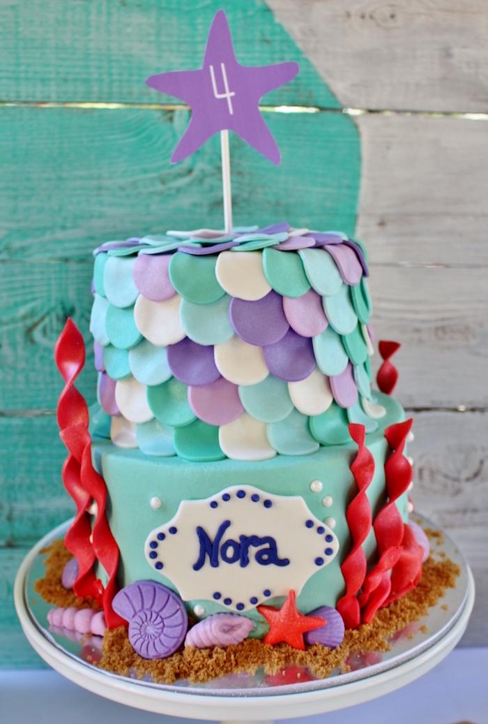 Mermaid cake from a Magical Mermaid Birthday Party on Kara's Party Ideas | KarasPartyIdeas.com (12)