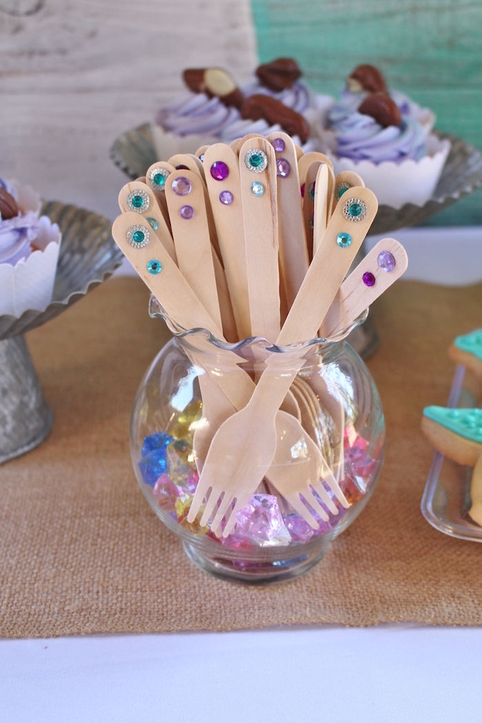 Jeweled utensils from a Magical Mermaid Birthday Party on Kara's Party Ideas | KarasPartyIdeas.com (10)