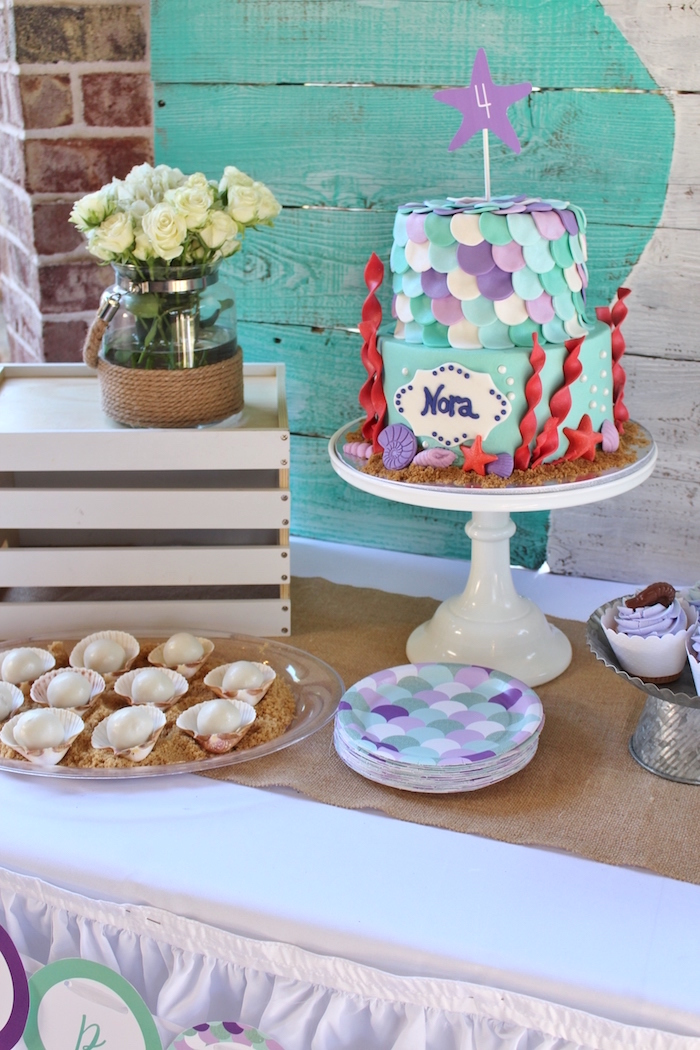 Cakescape from a Magical Mermaid Birthday Party on Kara's Party Ideas | KarasPartyIdeas.com (7)