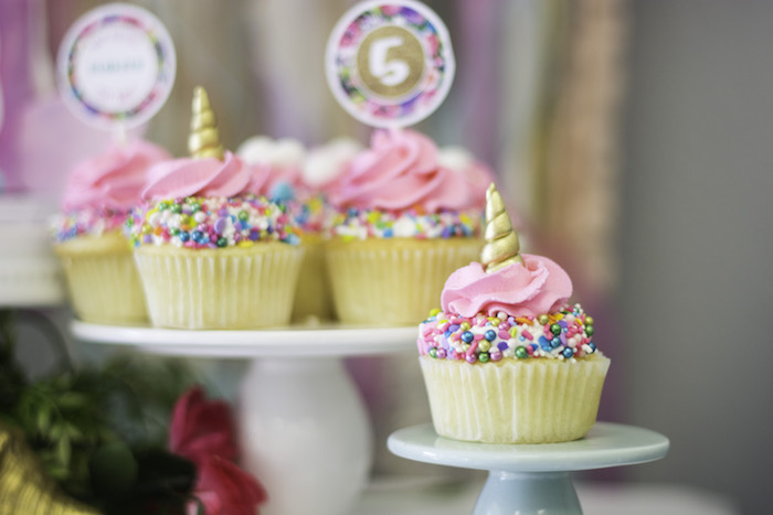 """Unicorn cupcakes from a Magical Narwhal """"Unicorn of the Sea"""" Birthday Party on Kara's Party Ideas   KarasPartyIdeas.com (27)"""