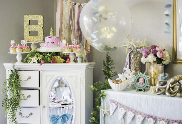 "Cake table from a Magical Narwhal ""Unicorn of the Sea"" Birthday Party on Kara's Party Ideas 