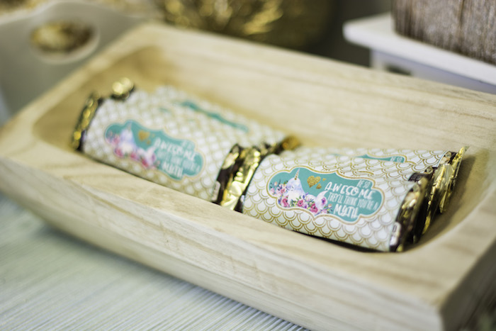 "Candy bars from a Magical Narwhal ""Unicorn of the Sea"" Birthday Party on Kara's Party Ideas 