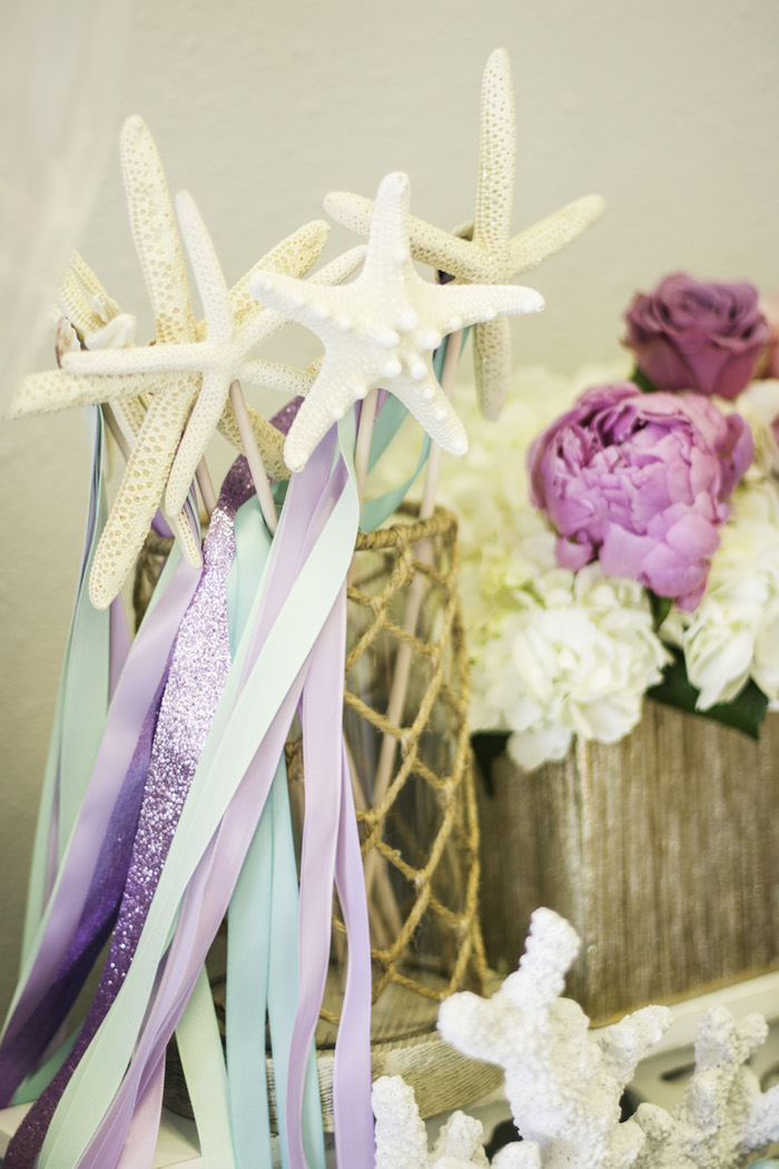 "Starfish wands from a Magical Narwhal ""Unicorn of the Sea"" Birthday Party on Kara's Party Ideas 