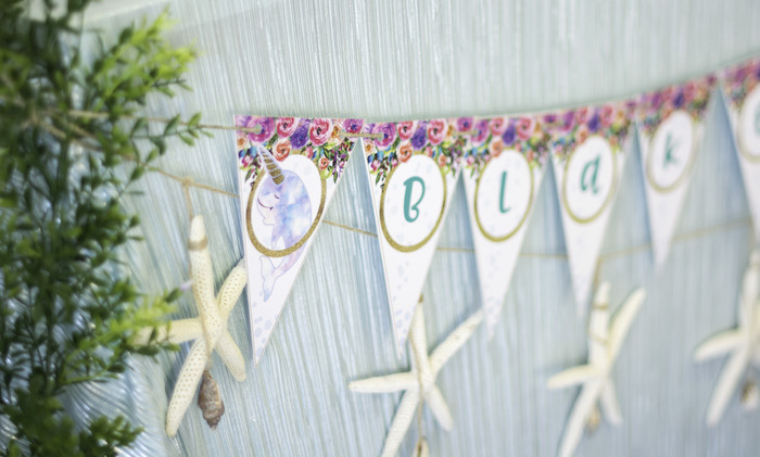 "Banner from a Magical Narwhal ""Unicorn of the Sea"" Birthday Party on Kara's Party Ideas 