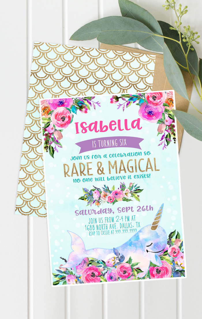"Invitation from a Magical Narwhal ""Unicorn of the Sea"" Birthday Party on Kara's Party Ideas 