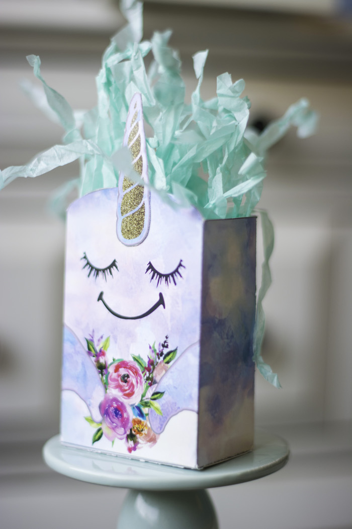 """Narwhal Unicorn Gift Bag from a Magical Narwhal """"Unicorn of the Sea"""" Birthday Party on Kara's Party Ideas   KarasPartyIdeas.com (8)"""