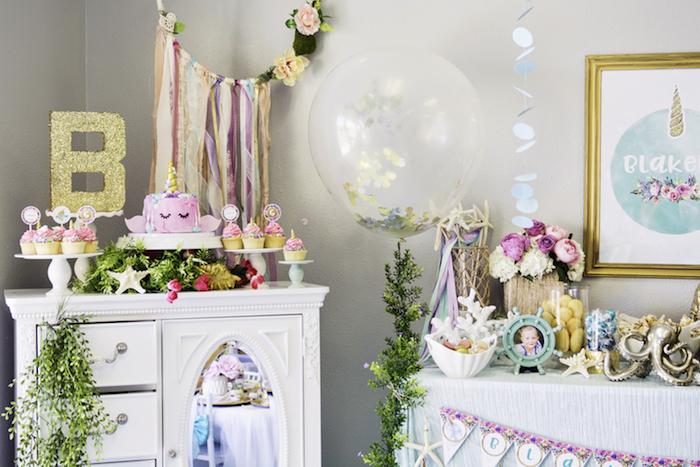 "Magical Narwhal ""Unicorn of the Sea"" Birthday Party on Kara's Party Ideas   KarasPartyIdeas.com (34)"
