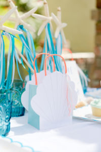 Sea shell gift bag from a Make a Splash Mermaid Birthday Party on Kara's Party Ideas | KarasPartyIdeas.com (16)