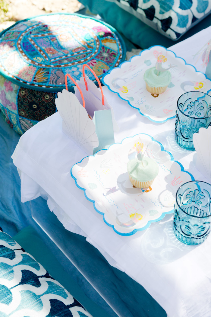 Place setting from a Make a Splash Mermaid Birthday Party on Kara's Party Ideas | KarasPartyIdeas.com (11)