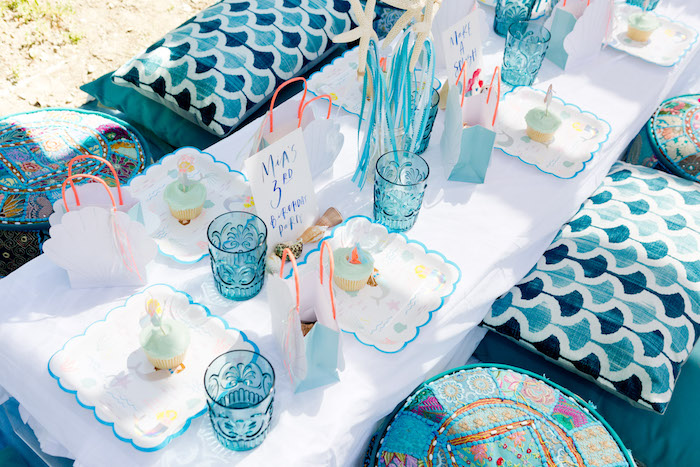 Guest tablescape from a Make a Splash Mermaid Birthday Party on Kara's Party Ideas | KarasPartyIdeas.com (10)