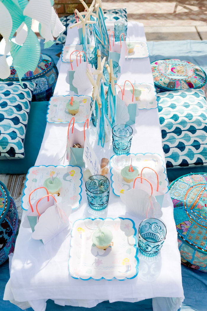 Guest tabletop from a Make a Splash Mermaid Birthday Party on Kara's Party Ideas | KarasPartyIdeas.com (9)