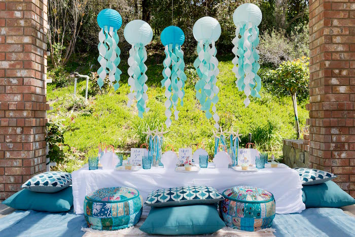 Guest table from a Make a Splash Mermaid Birthday Party on Kara's Party Ideas | KarasPartyIdeas.com (24)