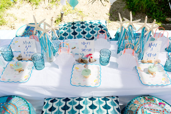 Guest table from a Make a Splash Mermaid Birthday Party on Kara's Party Ideas | KarasPartyIdeas.com (20)