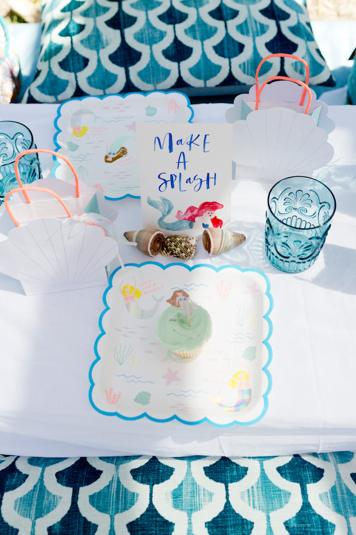 Place setting from a Make a Splash Mermaid Birthday Party on Kara's Party Ideas | KarasPartyIdeas.com (19)