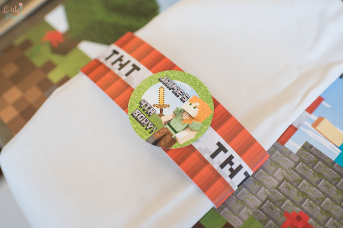 Minecraft napkin tie from a Minecraft Birthday Party on Kara's Party Ideas | KarasPartyIdeas.com (33)