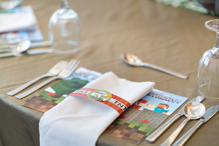 Minecraft place setting from a Minecraft Birthday Party on Kara's Party Ideas | KarasPartyIdeas.com (32)