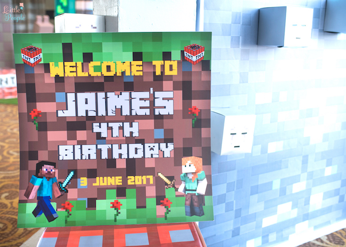 Welcome sign from a Minecraft Birthday Party on Kara's Party Ideas | KarasPartyIdeas.com (30)