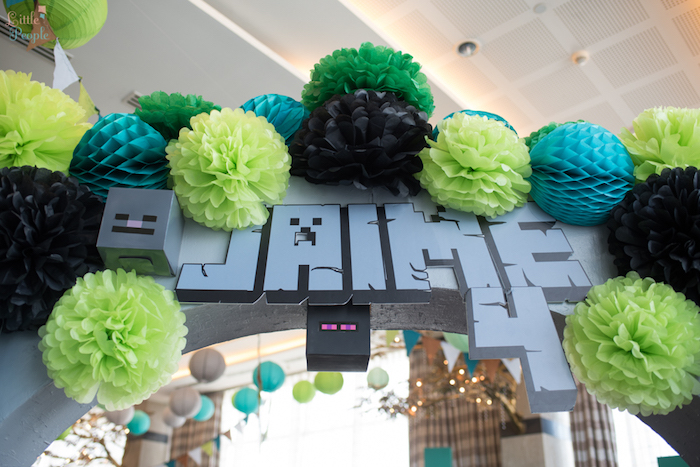 Custom name banner + tissue ball arch entrance from a Minecraft Birthday Party on Kara's Party Ideas | KarasPartyIdeas.com (28)