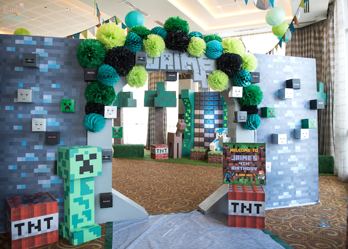 Diamond block & Creeper arch entrance from a Minecraft Birthday Party on Kara's Party Ideas | KarasPartyIdeas.com (26)