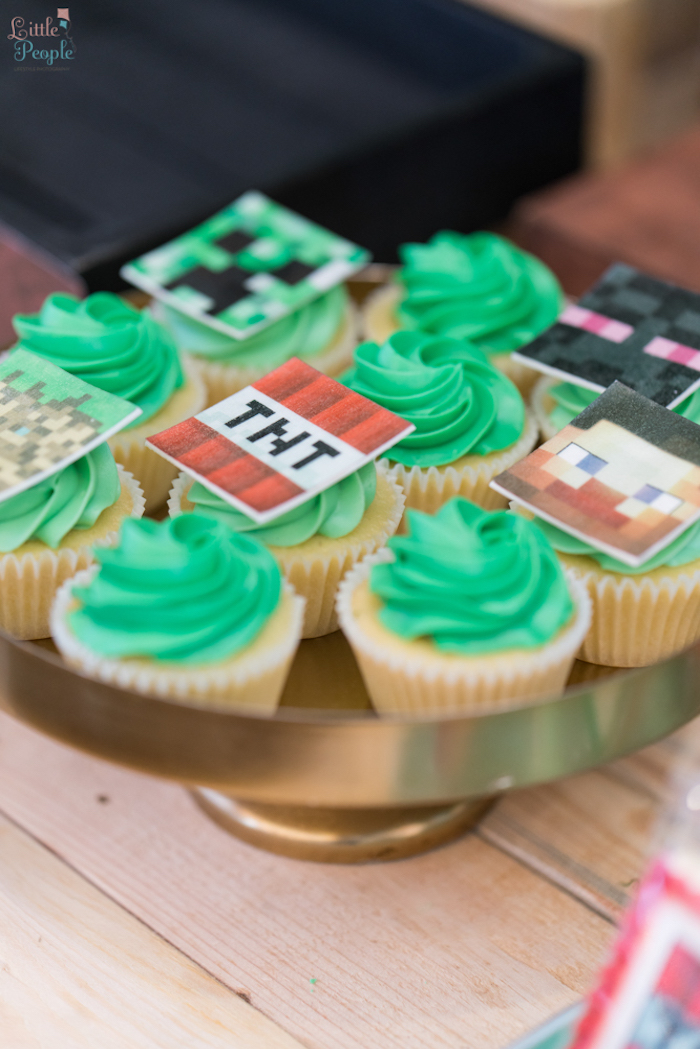 Nice Minecraft cupcakes from a Minecraft Birthday Party on Kara us Party Ideas KarasPartyIdeas