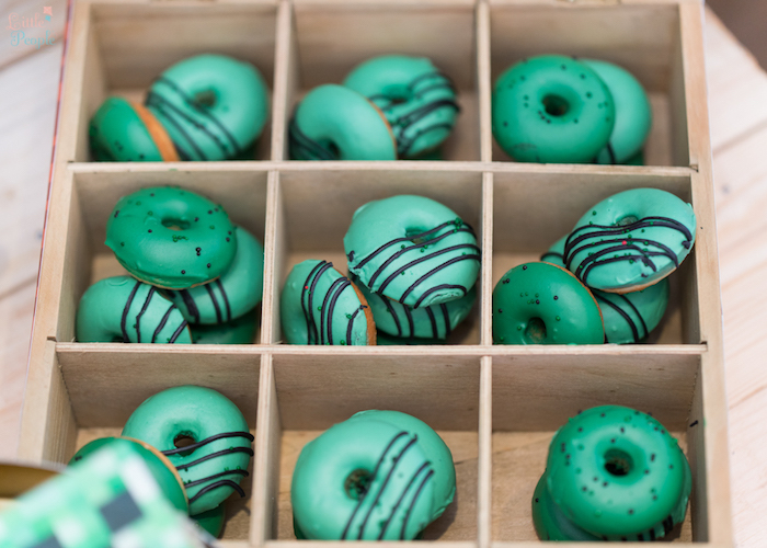 Mini Minecraft Doughnuts from a Minecraft Birthday Party on Kara's Party Ideas | KarasPartyIdeas.com (23)