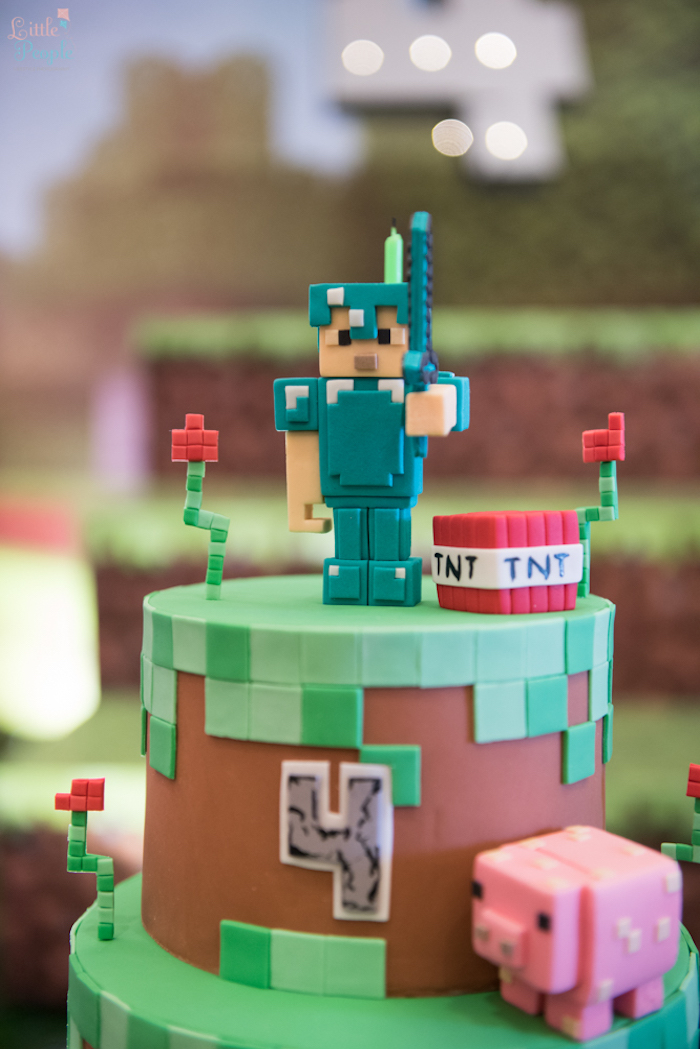 Cake top from a Minecraft Birthday Party on Kara's Party Ideas | KarasPartyIdeas.com (20)