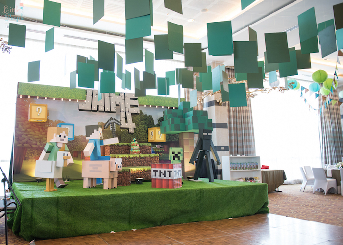 Minecraft party stage from a Minecraft Birthday Party on Kara's Party Ideas | KarasPartyIdeas.com (18)