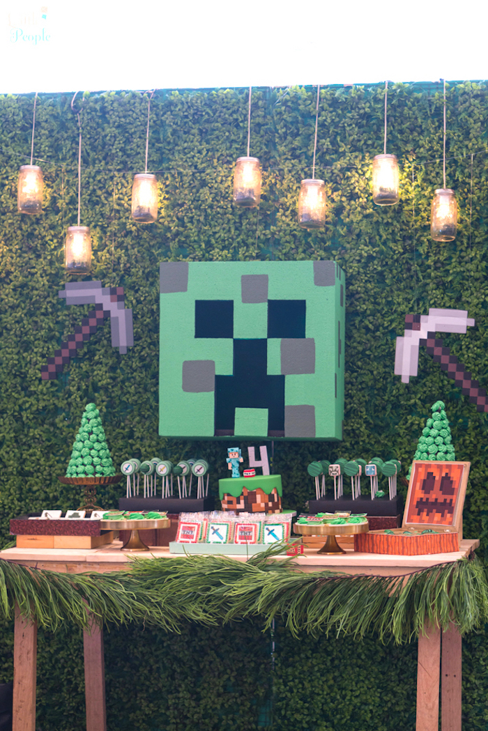Minecraft dessert table from a Minecraft Birthday Party on Kara's Party Ideas | KarasPartyIdeas.com (17)