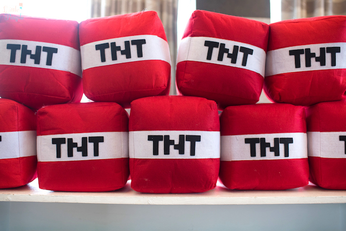 TNT Pillows from a Minecraft Birthday Party on Kara's Party Ideas | KarasPartyIdeas.com (14)