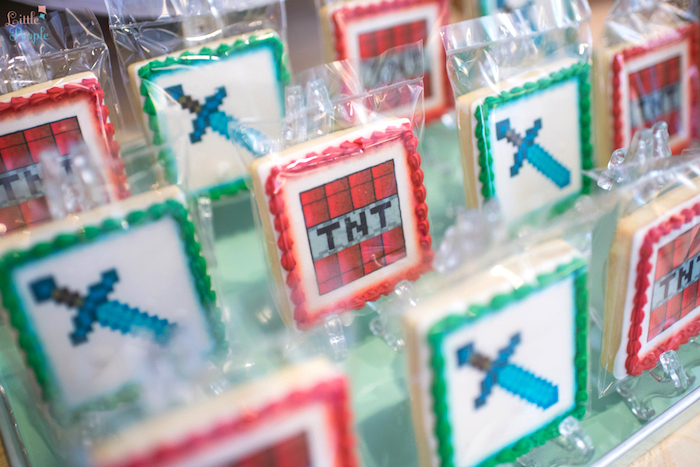 Minecraft Sword + TNT Cookies from a Minecraft Birthday Party on Kara's Party Ideas | KarasPartyIdeas.com (13)