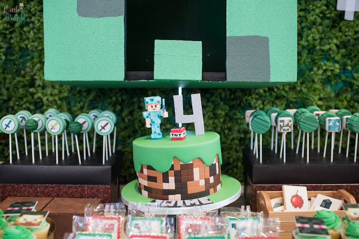 Cake table from a Minecraft Birthday Party on Kara's Party Ideas | KarasPartyIdeas.com (12)